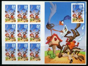 US SCOTT# 3391 COYOTE ROAD RUNNER COMPLETE SHEET OF 10 STAMPS 1 CTO AS SHOWN