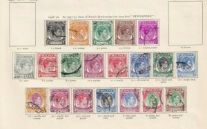 SINGAPORE 1948 VALUES TO $5  GEORGE 6TH CROWN ALBUM PAGE USED