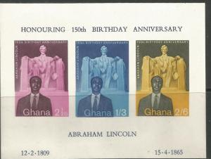 GHANA 41 MNH, SS OF 3, LINCOLN'S BIRTH SESQUICENTENNIAL