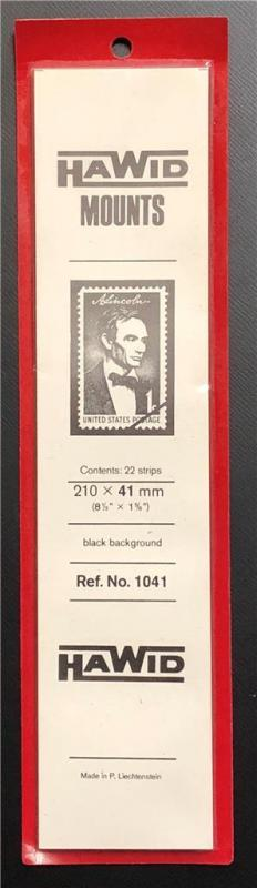 Stamp Mounts Supplies Hawid #1041 New 22 strips 41mm by 210mm Black background