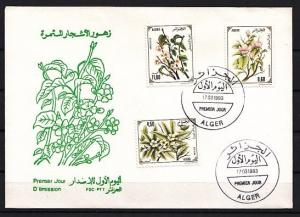 Algeria, Scott cat. 979-981. Flowering Trees issue. First day cover.