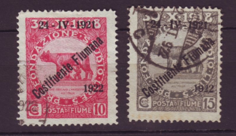 J22621 Jlstamps 1922 fiume used ovpt stamps #150-1
