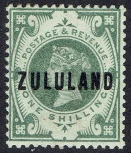 ZULULAND 1888 QV GB OVERPRINTED 1/-