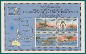 Cocos 1989 Emden Ship, MS MNH 210e,SGMS218