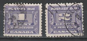 CANADA 1933 POSTAGE DUE 1C AND 2C USED
