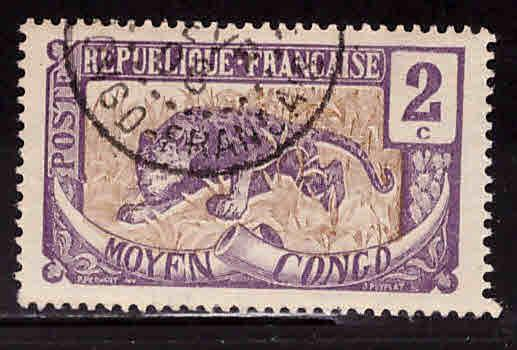 Moyen Middle Congo Scott 2 Used stamp 1907