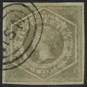 NEW SOUTH WALES 1854 QV DIADEM 6D GREYISH BROWN WMK 8 IMPERF USED