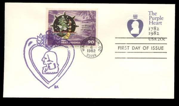 1st Defense Batalion 3rd Division Poster Stamp on Purple Heart #U603 FDC