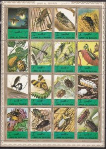 Umm Al Qiwain MNH S/S Insects Nature 1972 16 Stamps Large Size