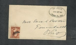 US Sc#210 Montville Ohio Scarce Double Oval Cancel Dec 27 1886