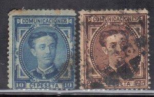SPAIN SC # 223+225 **USED** 10c+25c 1876   SEE SCAN