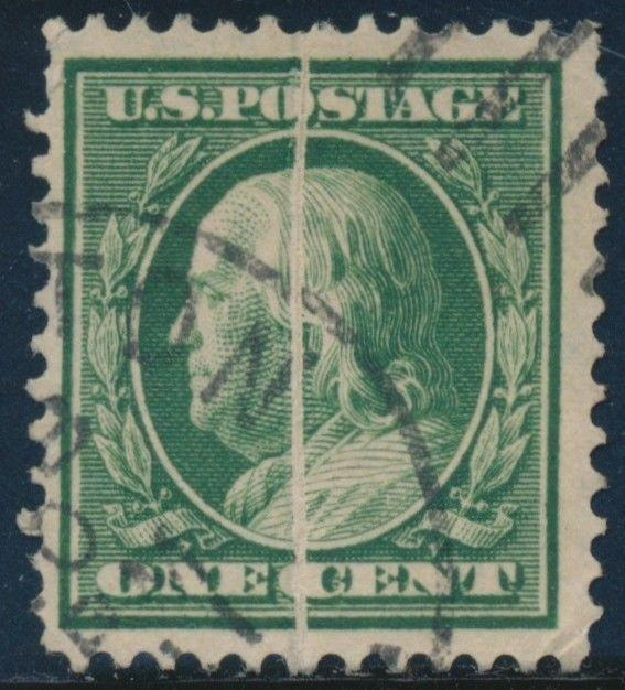 #331 VAR. 1¢ FRANKLIN WITH PRE-PRINT PAPERFOLD ERROR BR7240