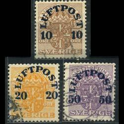SWEDEN 1920 - Scott# C1-3 Off.Stamps Surch. Set of 3 Used