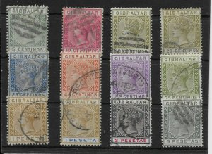 GIBRALTAR SG22/33 1889-96 SPANISH CURRENCY DEFINITIVE SET USED