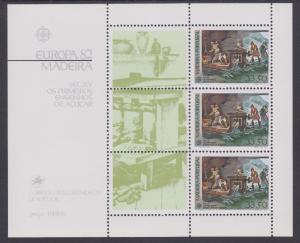 Madeira Sc 81a MNH. 1982 EUROPA souvenir sheet, VF