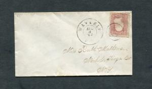 Postal History - Waverly NY 1867 Double Ring CDS Target Cancel #65 Cover B0278