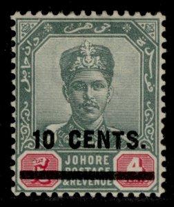 MALAYSIA - Johore EDVII SG58, 10c on 4c yellow & red, M MINT. Cat £20.