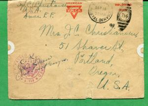 Censored Soldiers Mail Cover 1918 to Portland OR Numeral Duplex Cancel - S8380