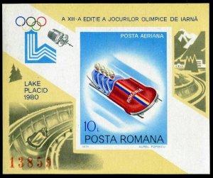Romania 2932 imperf,MNH.Mi Bl.164. Olympics Lake Placid-1980.4-man bobsledding.