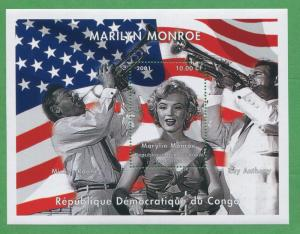 Marilyn Monroe Mickey Rooney Ray Anthony Souvenir Stamp Sheets Congo E18