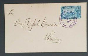 1924 San Jose Limon Costa Rica to Don Rafael Corredor Early Air Mail Cover