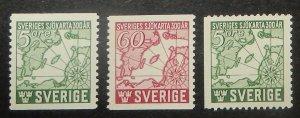 Sweden 348-50. 1944 Swedish Marine Chart tercentenary, NH