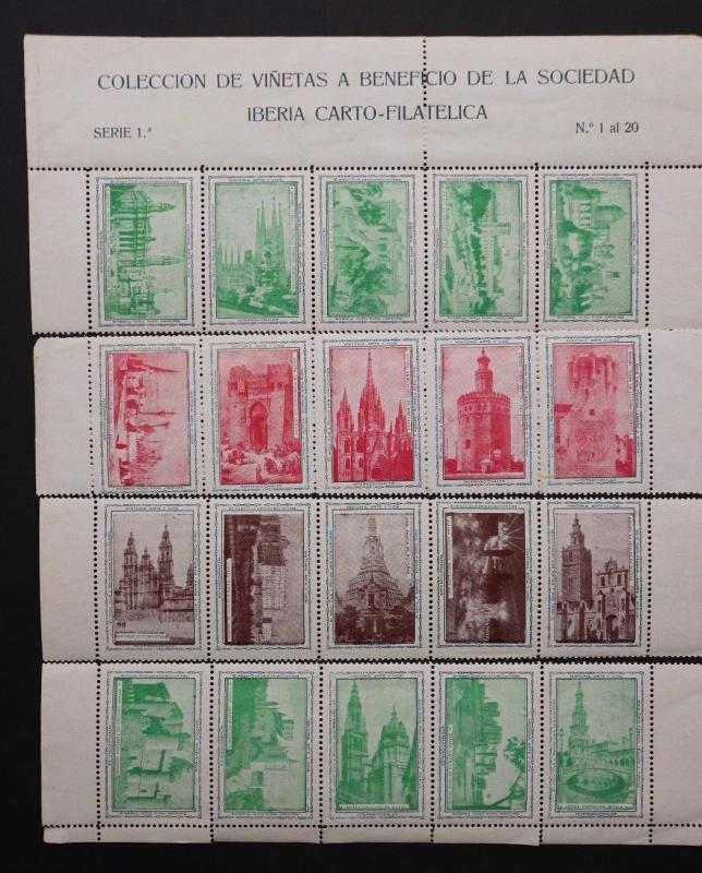 Iberia Spain world architecture Stamp Philatelic club Poster 1930 expo sheet DM