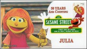19-165, 2019, Sesame Street, Digital Color Postmark, FDC, Julia, 50 Years
