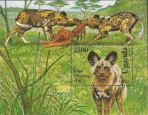 Uganda - 1993 Cape Hunting Dog - Stamp Souvenir Sheet - Scott #1135