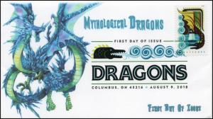 18-170, 2018, Dragons, First Day Cover, Digital Color Postmark, Black Sea Dragon