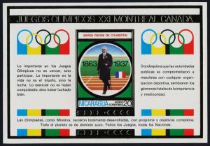 Nicaragua gold s/s MNH Olympics, Baron Pierre de Coubertin