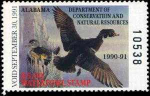 ALABAMA #12 1990 STATE DUCK WOOD DUCKS by Steven C. Garst
