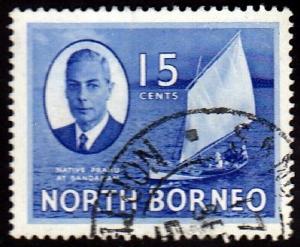 North Borneo #251 Proa at Sandakan, 1950. Used,PM