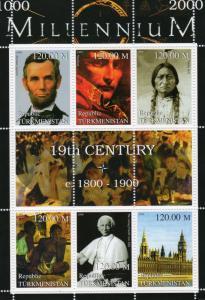Turkmenistan 1999 Millennium/Lincoln/Napoleon/Sitting Bull/Gauguin Sheetlet MNH