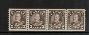 Canada #182iii Extra Fine Never Hinged Cockeyed King Line Strip Of Four