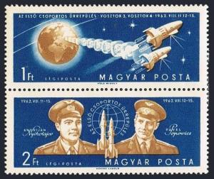Hungary C219-C220a pair,MNH.Michel 1863-1864. Flight 1962.Nikolaev,Popovich.