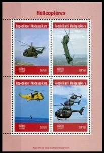 Madagascar 2019 RED CROSS AVIATION HELICOPTERS Sheet Perforated Mint (NH)