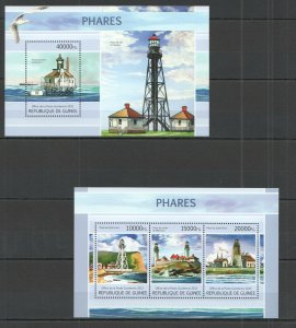 ST1338 2013 GUINEA ARCHITECTURE MARINE LIFE BIRDS LIGHTHOUSES KB+BL MNH STAMPS