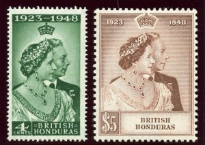 British Honduras 1948 KGVI Silver Wedding set MNH. SG 164-165. Sc 129-130.