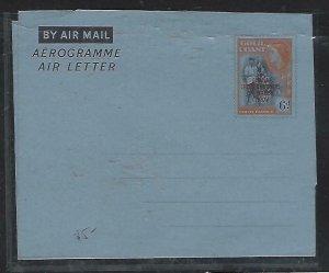 GOLD COAST (P2708B)    QEII  6D AEROGRAM OVPT GHANA UNUSED