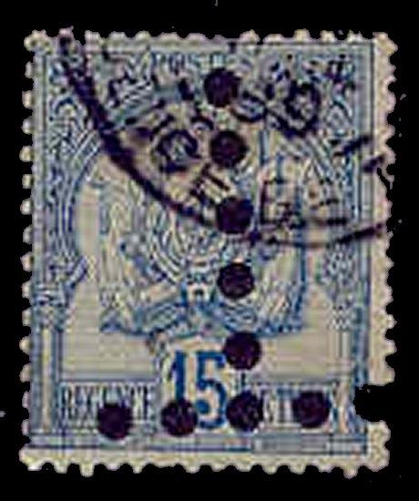 Tunisia 1888-98 Inverted 'T' Postage Due Perfin on 15c Coat of Arms Stamp