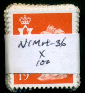 GREAT BRITAIN N. IRELAND SG-NI49, SCOTT # NIMH-36, USED, 100 STAMPS, GREAT PRICE