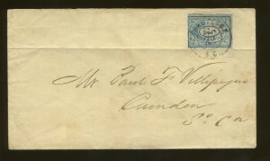 1860's Confederate States Charleston SC Provisional #16X1 Civil War Postal Cover