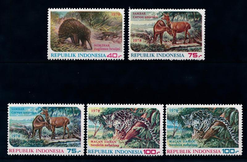 [39302] Indonesia 1978  Anteater Deer Leopard 2 V in red and blue MNH