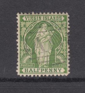 Virgin Islands Sc 21b used 1899 ½p St. Ursula, F in HALF w/o bottom bar, ERROR