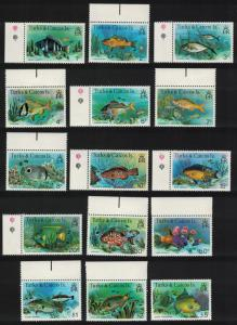 Turks and Caicos Fish 15v Margins without imprint SG#514A-528A