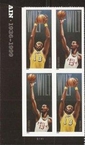US Stamp 2014 Basketball Wilt Chamberlain 4 Stamp Plate Block - Scott #4950-1