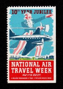POSTER STAMP NATIONAL AIR TRAVEL WEEK UNCLE SAM - VINTAGE AIRPLANE 1938 MNG