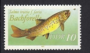 Germany  DDR  1987 MNH freshwater fishes  10 Pf   #