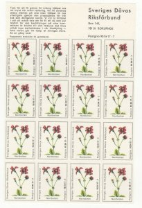 Sweden Charity Stamps Sheet of 16 National Assoc. of the Deaf Norrbotten MNH